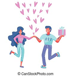 Couple in love. Man and woman show heart with their hands. Family holding hearts around. Romance and Saint Valentine s Day concept. Characters for holiday card. Vector flat cartoon illustration