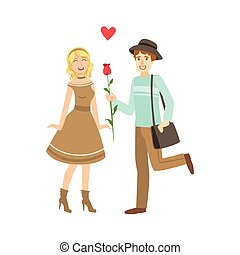 Couple In Love, Man Presenting A Rose. Bright Color Cartoon...