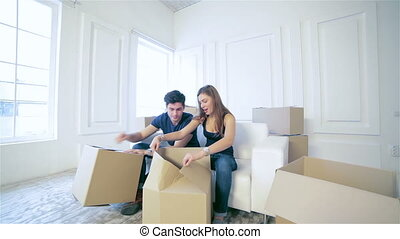 Couple in love moving