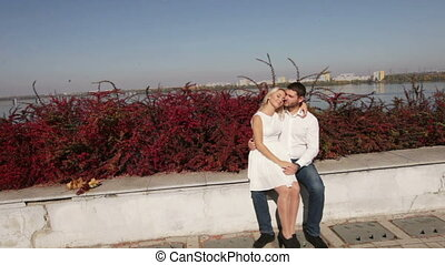 Couple in love on city background