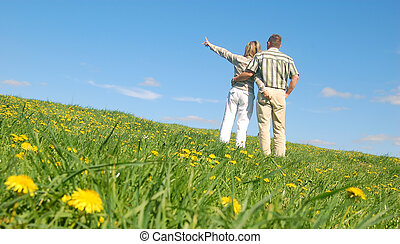 Couple in love on meadow