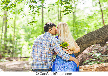 couple in love on summer nature