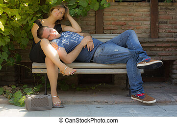 Couple in love on the bench