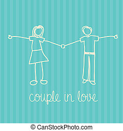 couple in love over lineal background vector illustration