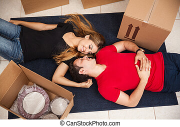 Couple in love packing