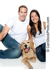 couple in love puppy dog golden retriever