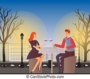Couple in love, romantic dinner outdoor. Young man and woman on a date in the street of the old town. Vector illustration.