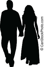 Couple in love silhouette - vector