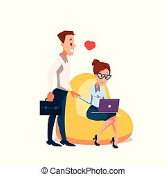 Couple in Love Sit in Beanbag Chair with Laptop