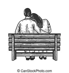 couple in love sits on a bench sketch engraving vector illustration. T-shirt apparel print design. Scratch board imitation. Black and white hand drawn image.
