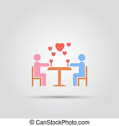couple in love sitting at a table with glasses of wine abstract isolated vector icon