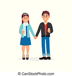 Couple in love standing holding hands vector Illustration on a white background