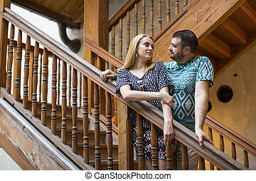Couple in love standing on the old