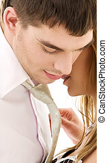 couple in love - picture of couple in love over white