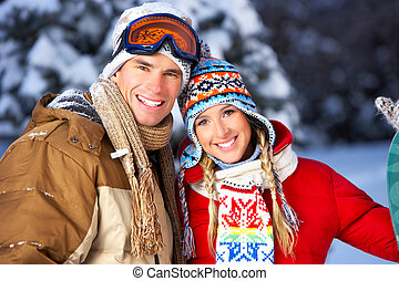 couple in love - Young happy smiling couple in love. Winter...