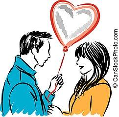 couple in love st.Valentin with heart balloon vector ...