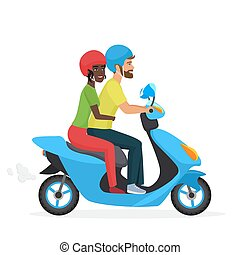 Couple in love together on scooter. Young happy pair, white man and african american woman riding a motorbike. Trendy gradient color vector illustration.