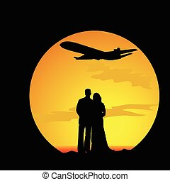 couple in love travel vector silhouette