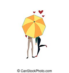 Couple in love under one big umbrella, rainy weather concept cartoon vector Illustration