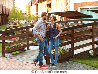 couple in love walking in the park in Europe
