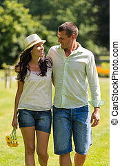Couple in love walking outdoors