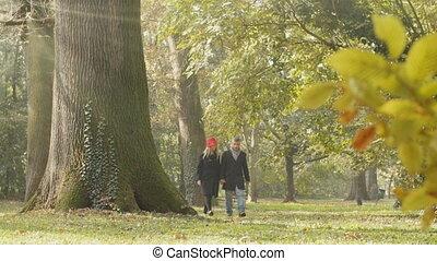 couple in love walking slow motion