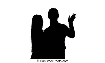 Couple in love waving their friends and calling them to them. Silhouette. White background
