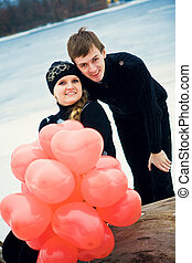Couple in love with balls