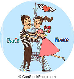Couple in love with Eiffel Tower from Paris