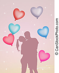 couple in love with hearts balloons