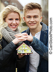 couple in love with home