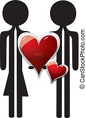 couple in love with red heart shape