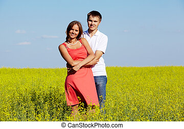 Couple in meadow
