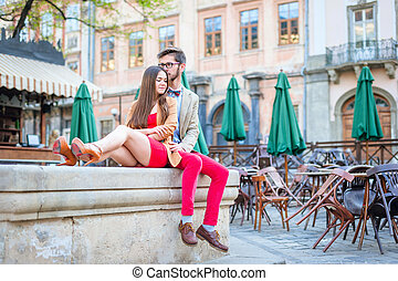 couple in old city