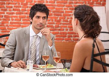 Couple in restaurant