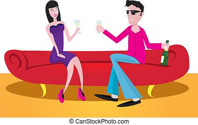 couple in restaurant.