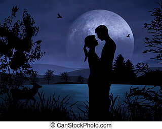 Couple in Romance - Romantic couple at night with nice...
