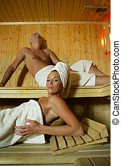 Couple in sauna