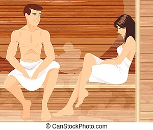 Vector illustration of a couple in sauna
