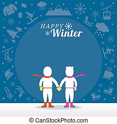 Couple in Snowsuit with Winter Icons Background