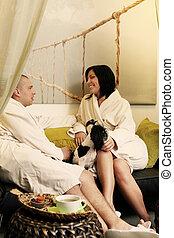 Couple in spa salon