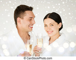 couple in spa - health and beauty, celebration, drinks...