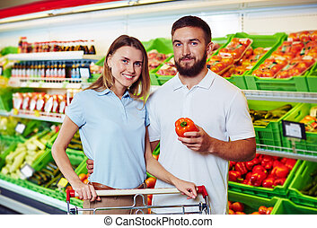 Couple in supermarket
