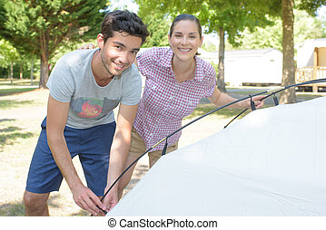 couple in the campgrounds