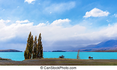 Couple In The Distance Sitting On A Bench On The Shore Of Lake Tekapo In New zealand