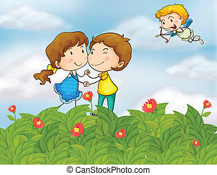 Couple in the garden with Mr. cupid