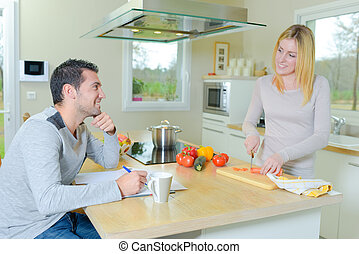 Couple in the kitchen together