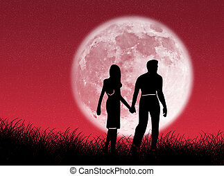 Couple in the moon