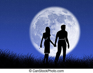 Couple in the moon - Couple walking towards the moon as...