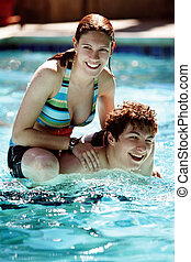 Couple in the pool - Happy couple in the pool